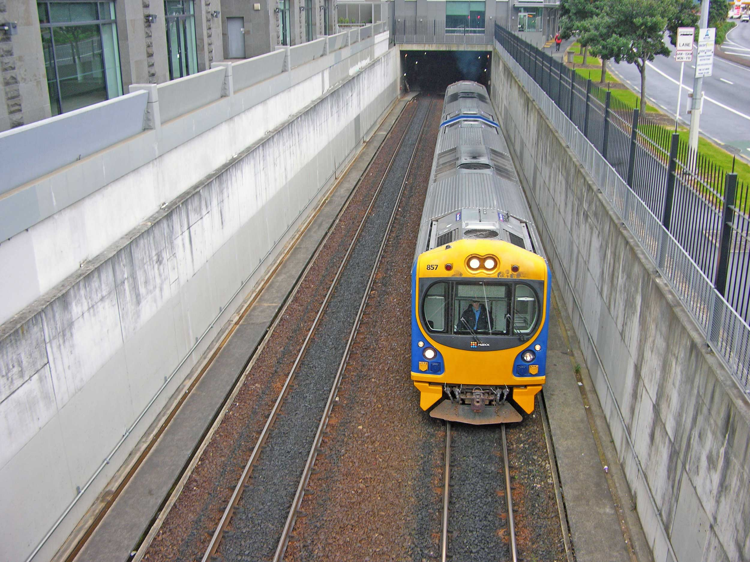 Before electrification: A diesel train leaves the Britomart tunnel
