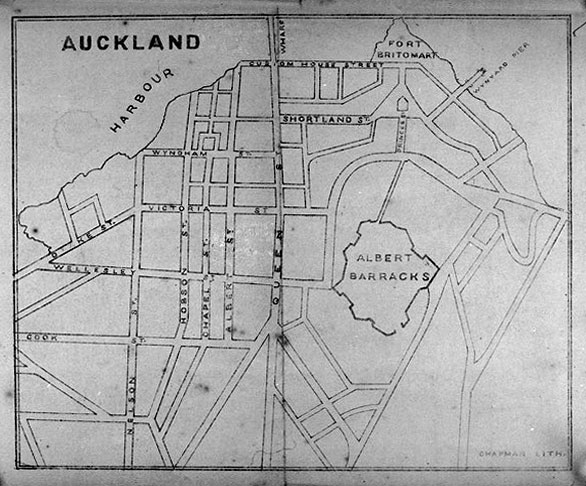 1861: Map of central Auckland (Image: Sir George Grey Special Collections, Auckland Libraries, 4-160)