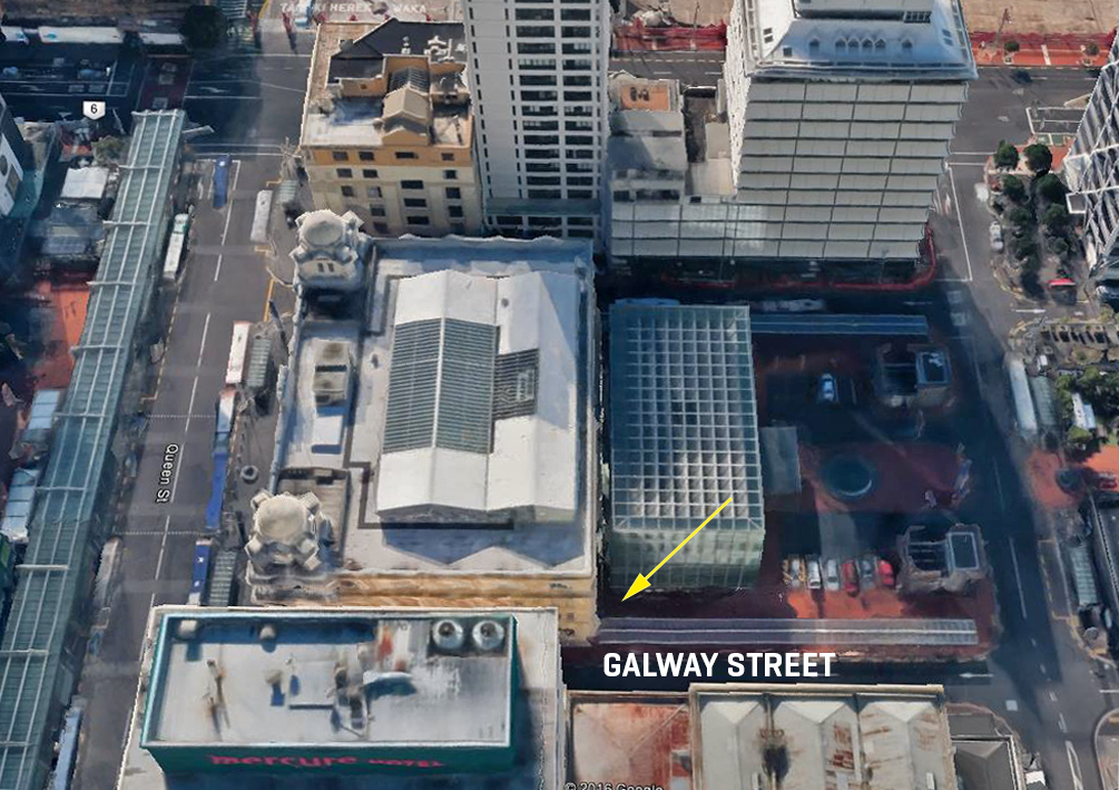 LOCATION: Aerial photo showing the location of the recovered artefacts. The CPO and Britomart is shown at the centre in this Google Earth shot