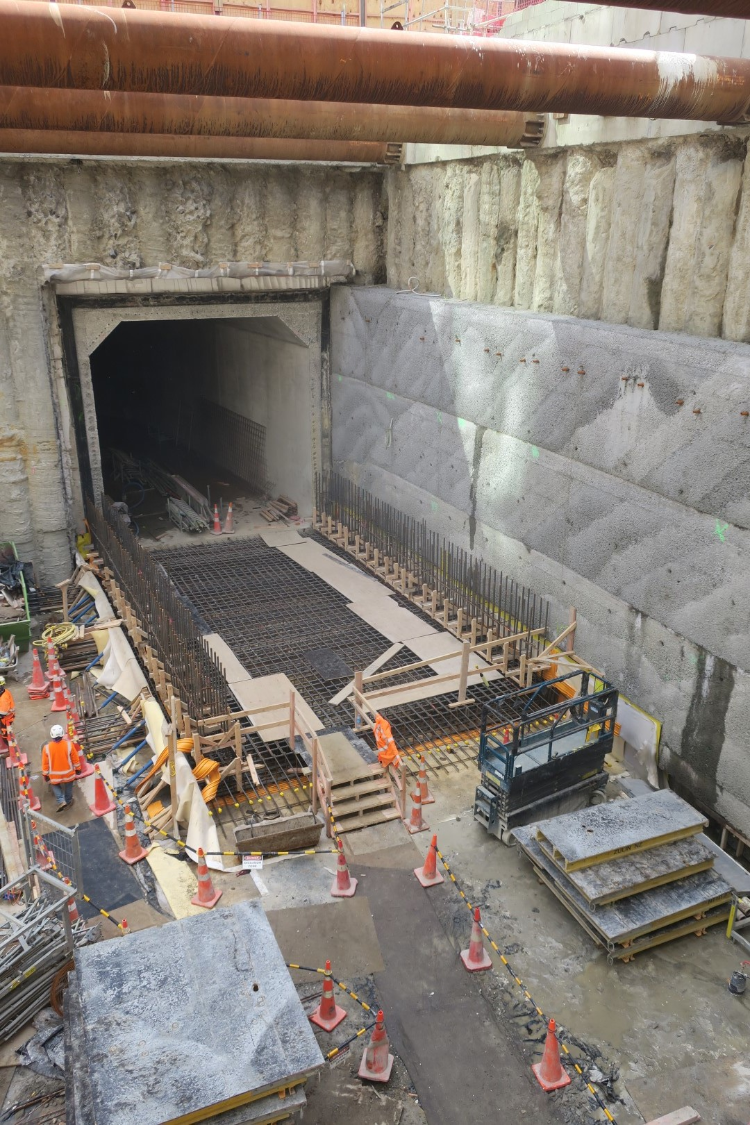 Looking down into Lower Queen Street's northern edge. The base slab construction is underway. 23 April 2019.