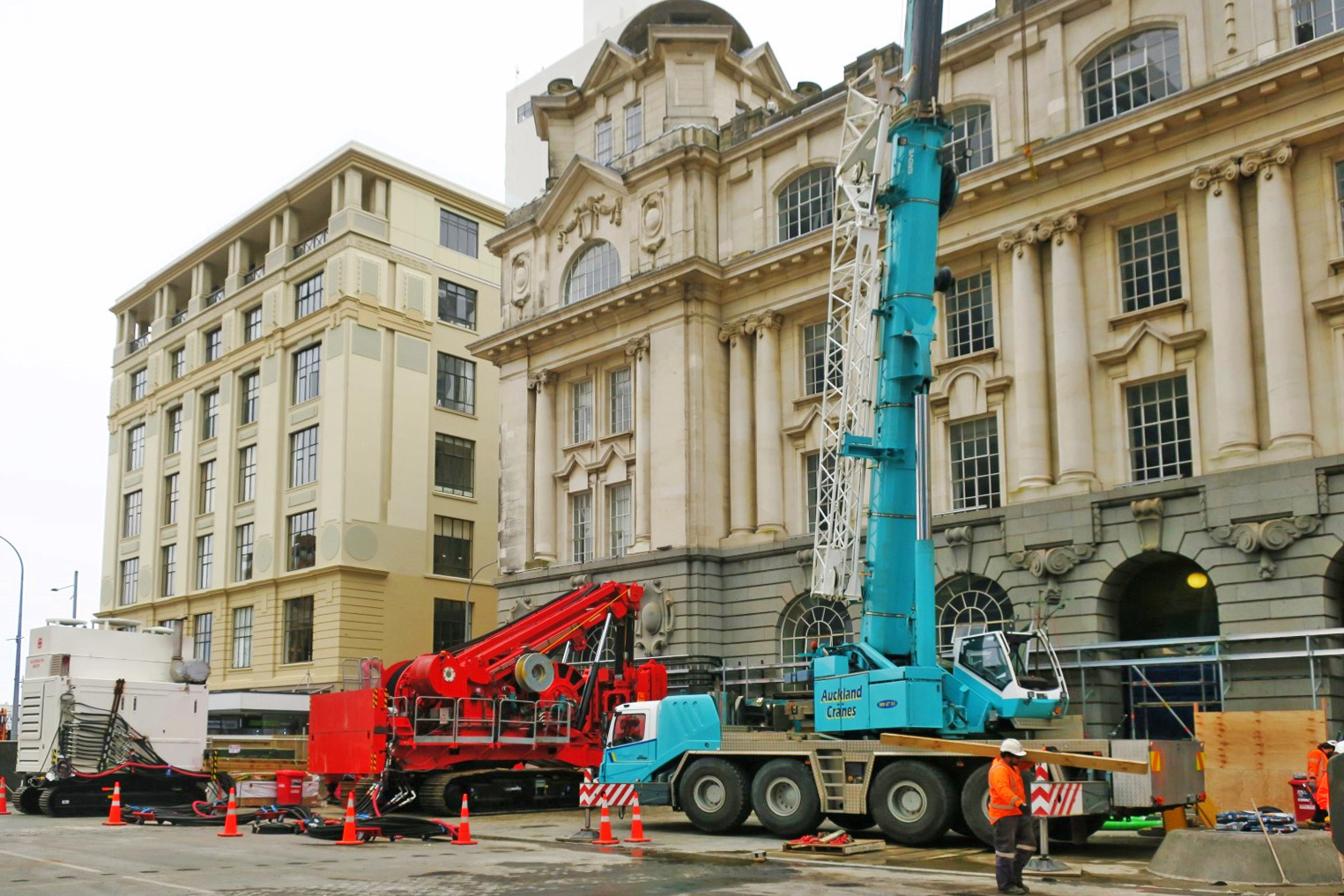 This bright red 90 tonne piling rig named Sandrine worked inside and outside the historic Chief Post Office (Britomart Transport Centre) building until being returned to France in early 2018. This was taken in August 2017.