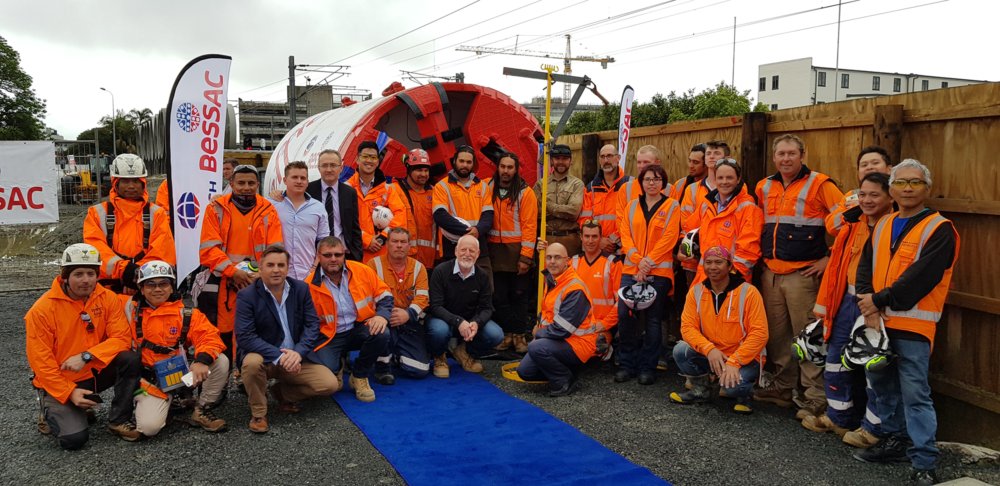 CRL team with MBJV workers at the Blessing Ceremony for Jeffie at Mt Eden, December 2018