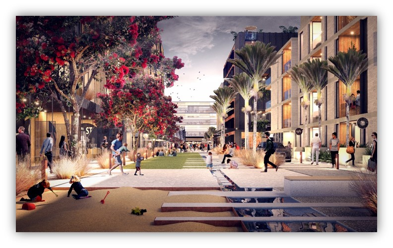 GREEN: The proposed green space looking west toward the station from the Flower Street intersection