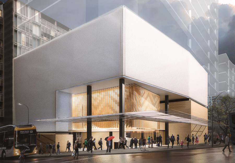 Aotea Station street front rendering