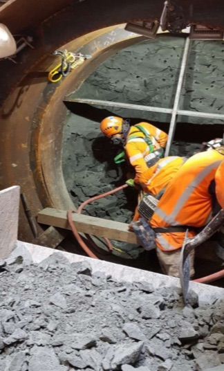 Mining for the pipe connection at Nikau Street   June 2019
