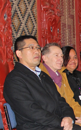 Chris Chong (left), Dr Sweeney and Berenize Peita at the hui a marae