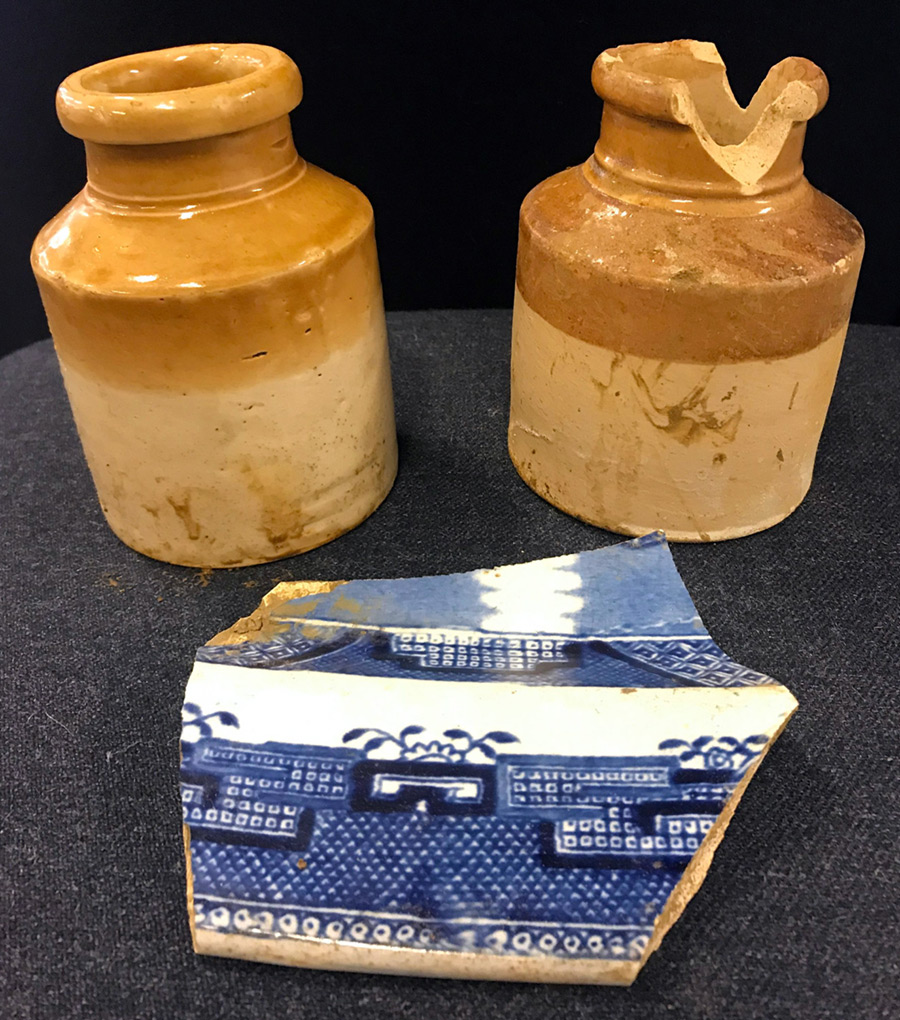 UNEARTHED: 150- year old preserve jars and a shard of pottery from a Willow pattern platter found underneath Galway Street