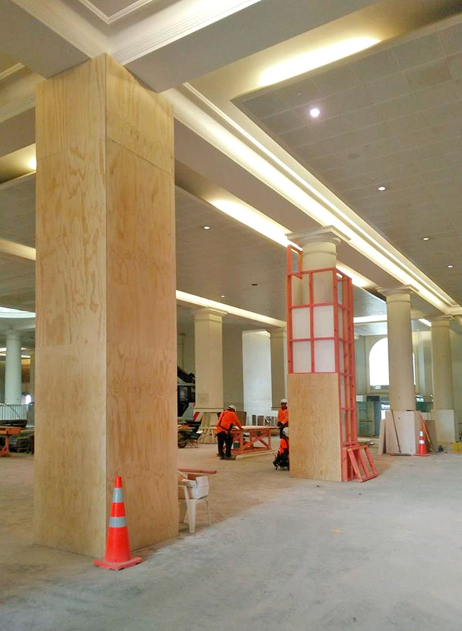 PROTECTION: The heritage pillars and ceiling in Britomart station are protected
