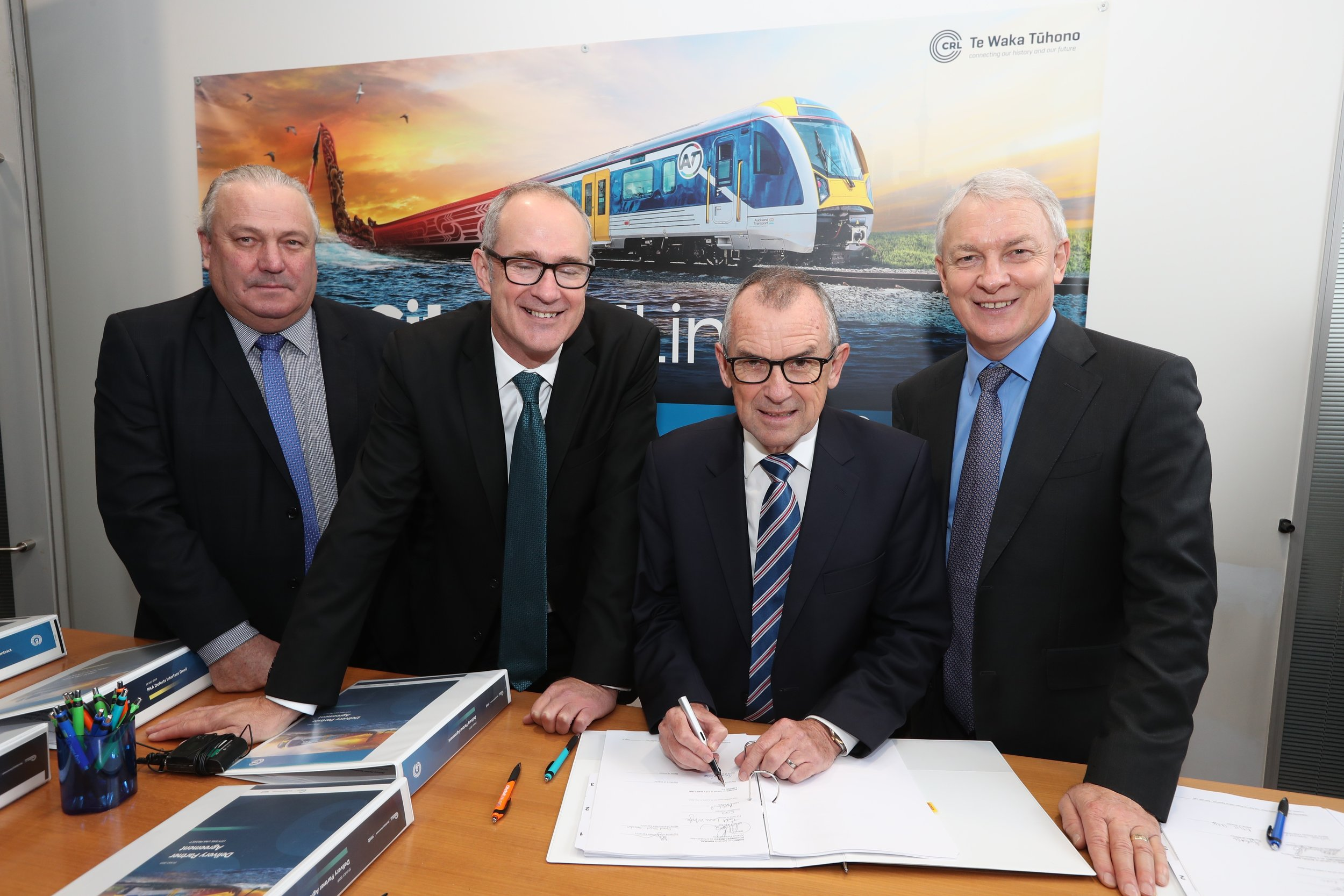 From left to right -Auckland deputy Mayor Bill Cashmore, Transport Minister Phil Twyford, CRLL Chair Sir Brian Roche, Auckland Mayor Phil Goff