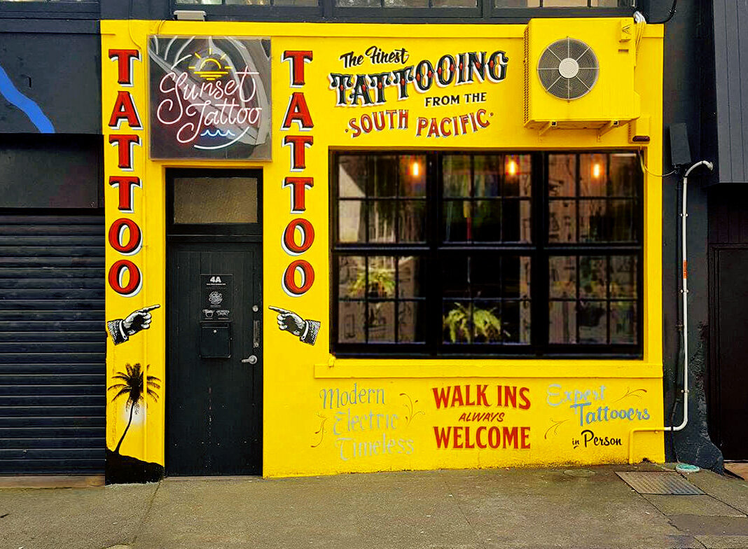 Sunset tattoo store front