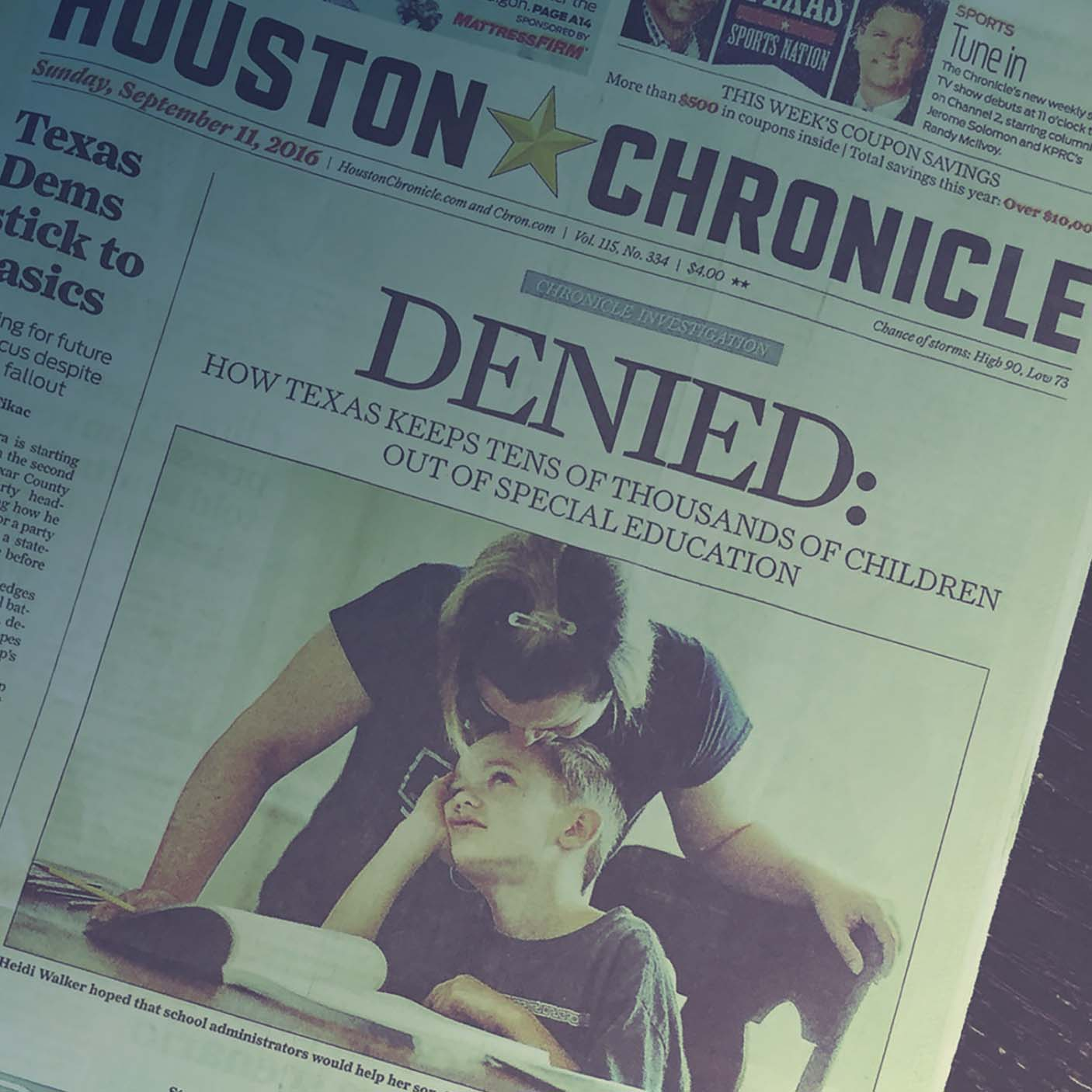 Houston Chronicle's September 11, 2016 front page