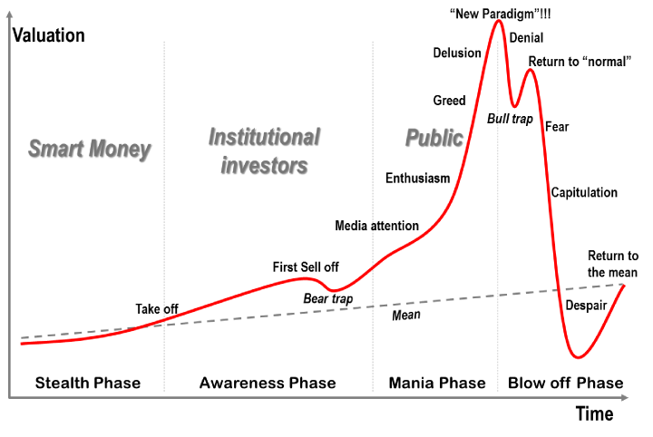 "I think in terms of Bitcoin and crypto I think we are in the mania phase probably around the ""enthusiasm"" stage. My girlfriend thinks I'm in a state of delusion most the time, but what does she know about investment fundamentals."