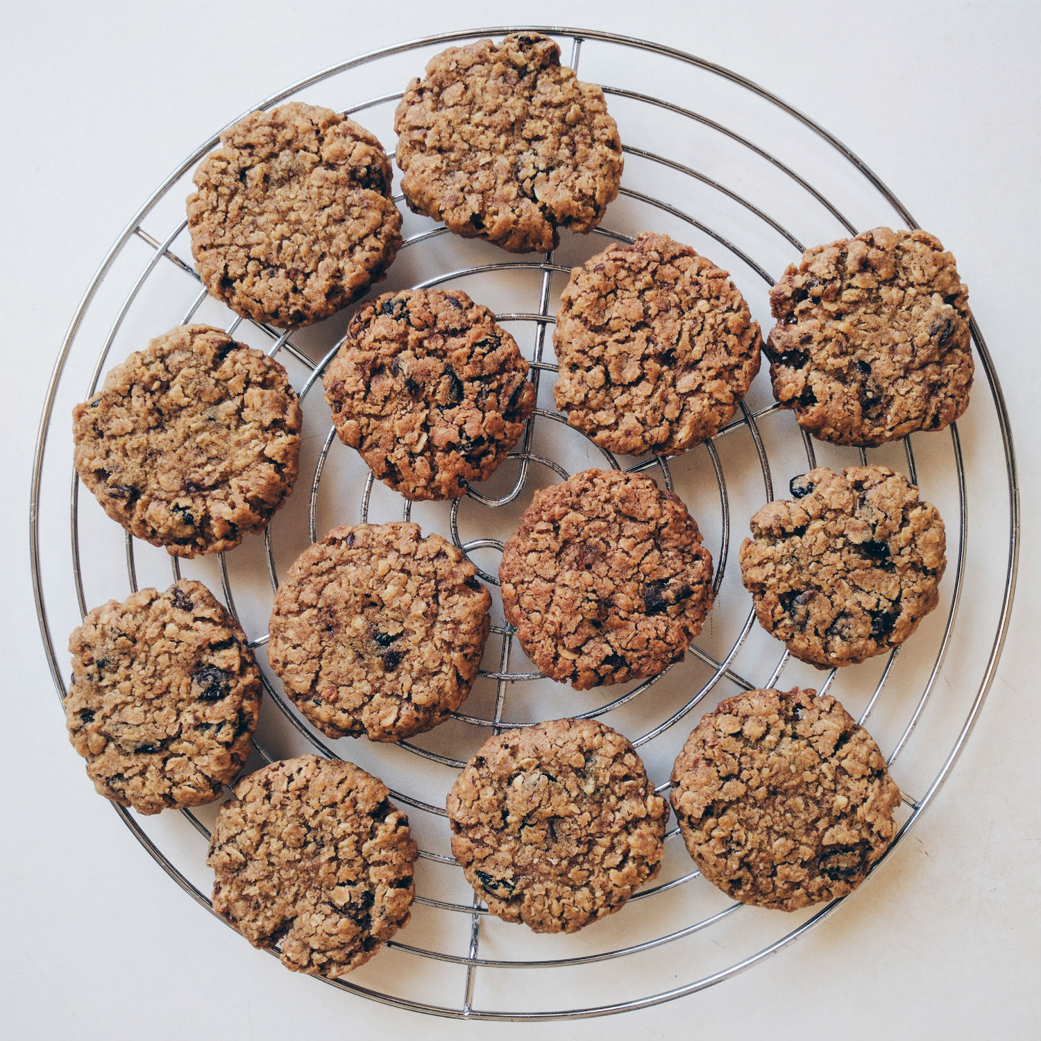 Oatmeal cookies with raisins and dried cranberries.