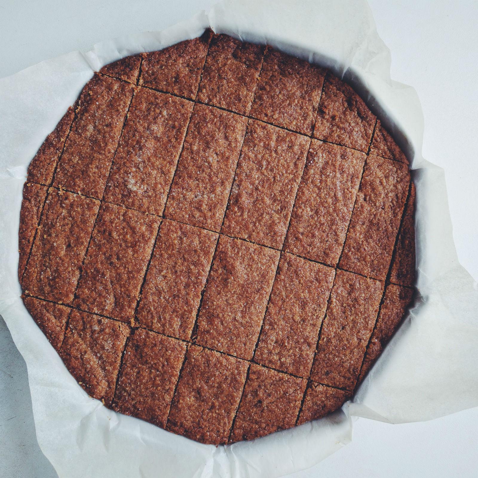 Lemon buckwheat shortbread: in the pan after baking