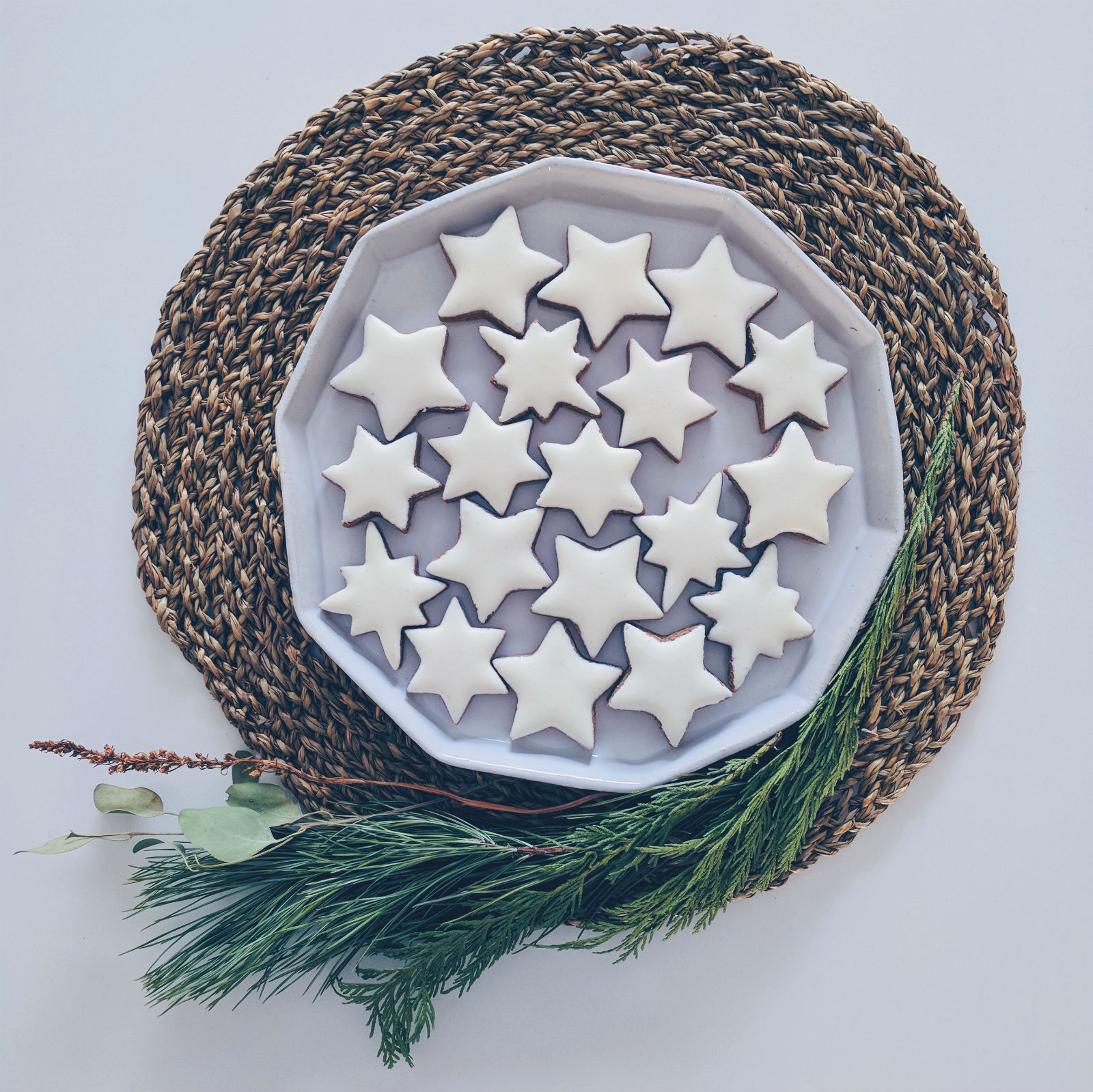 Zimtsterne, cinnamon stars, are a type of German Christmas cookie.