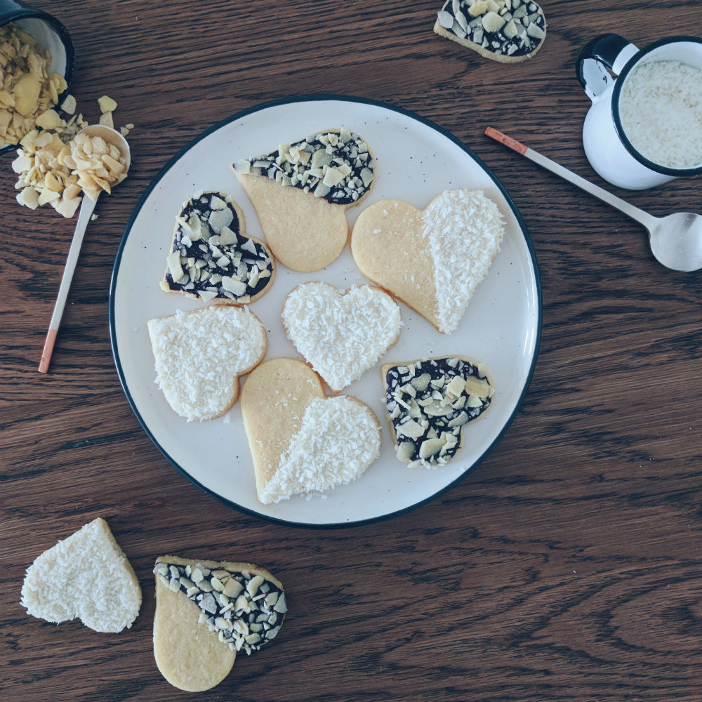 Almond sugar cookies in the form of hearts for Valentine's Day.