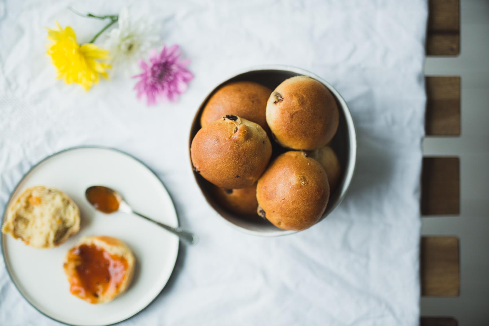 Maritozzi (Italian sweet buns)with apricot jam.