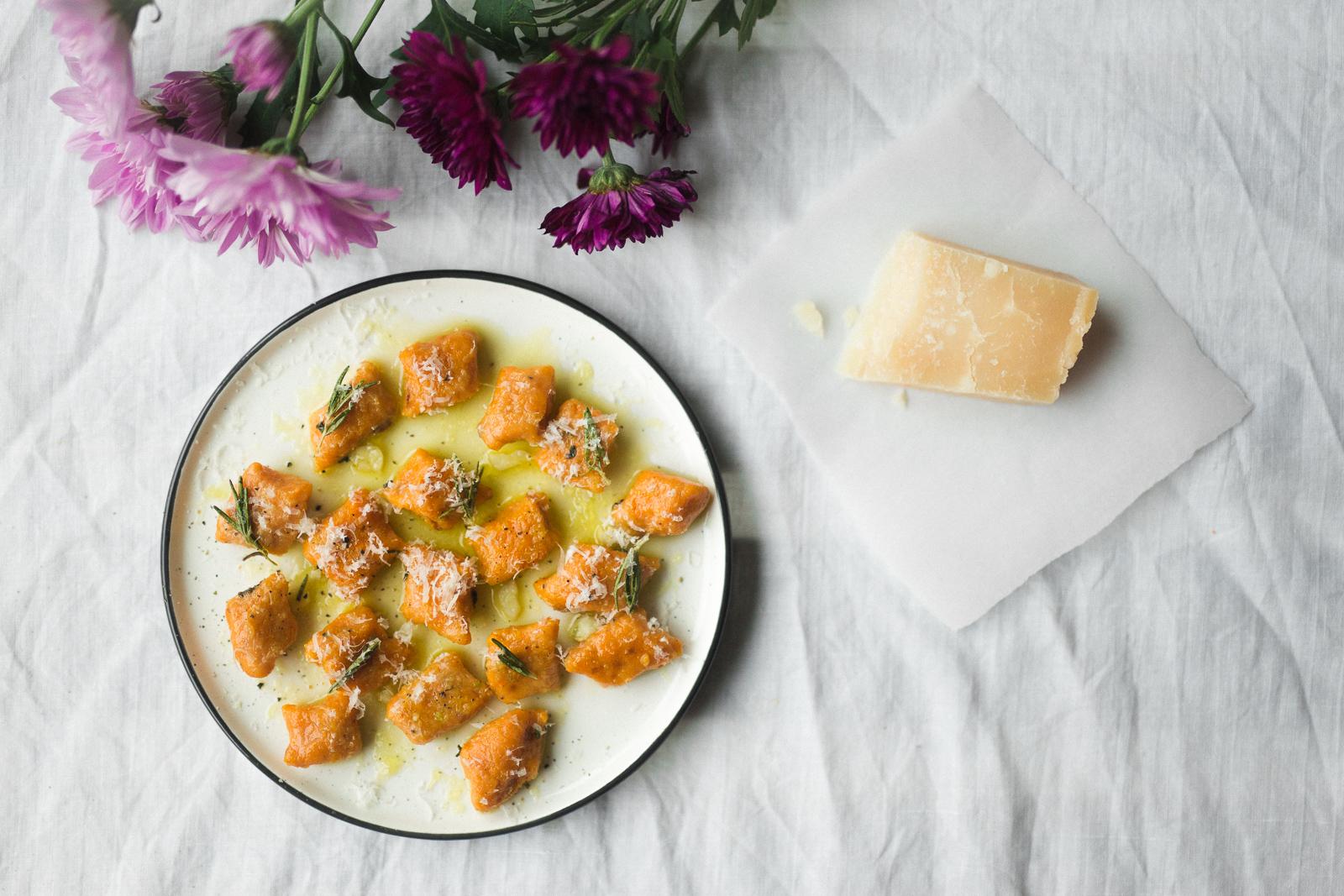 Sweet potato gnocchi, olive oil, rosemary, garlic, pecorino.