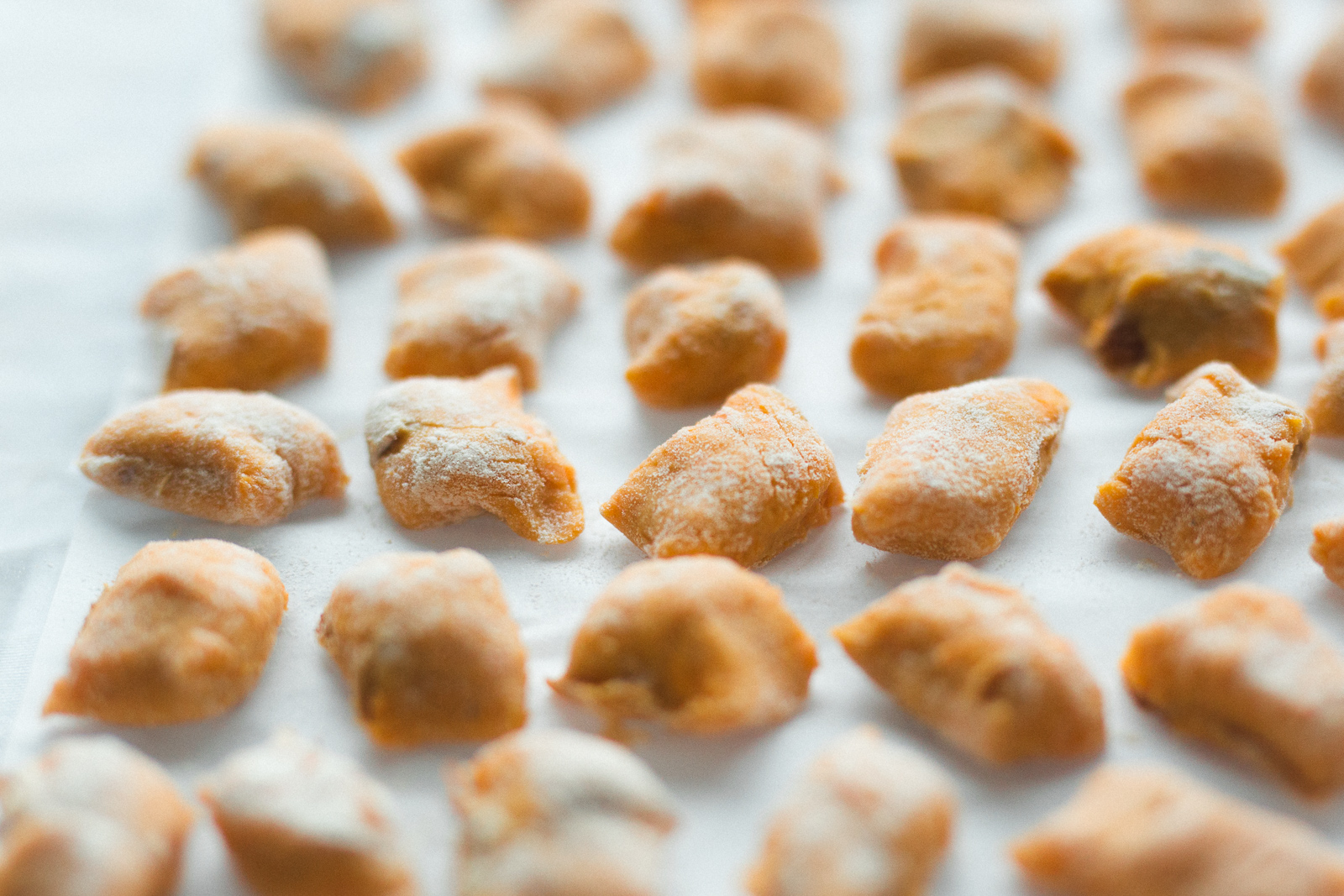 Sweet potato gnocchi, ready for the pot.
