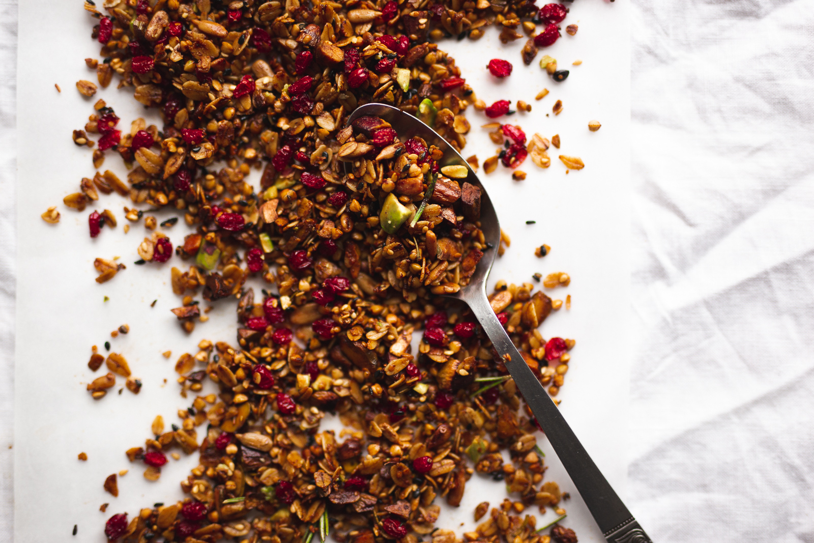 Savoury granola: pistachio, sunflower/sesame/hemp seeds, barberry, rosemary, lemon.