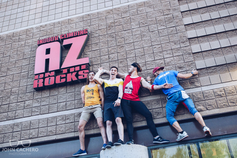 Ninja warriors, Jake Murray, Sean Bryan, Adam Rayl, and Travis Brewer scaling the outer wall of AZ on the Rocks.