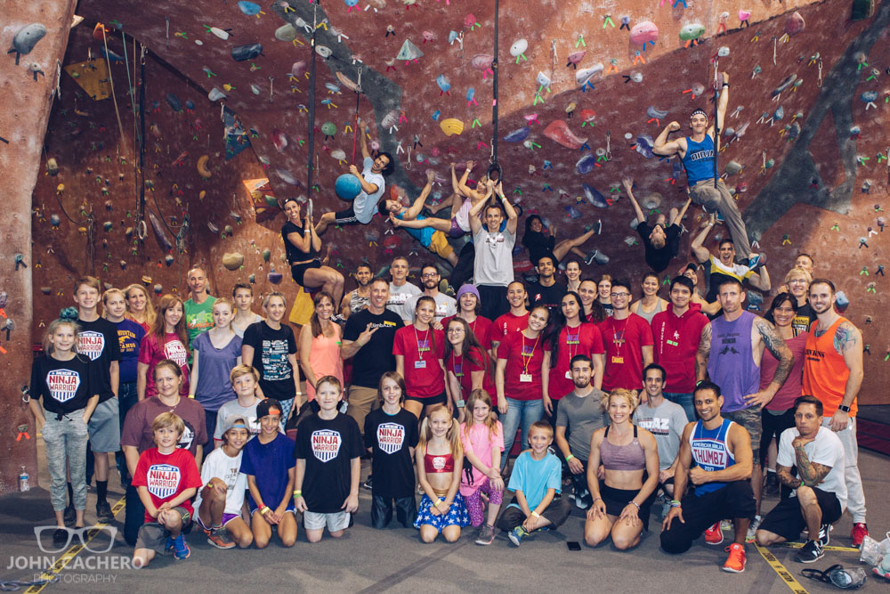 All the remaining ninjas, fans, and staff posing for one last photo inside AZ on the Rocks.