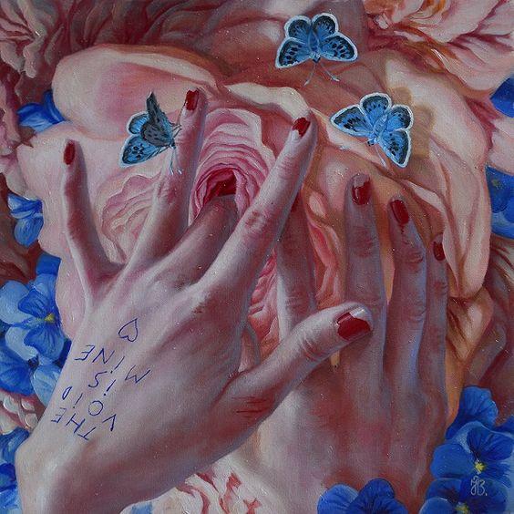 yoni art watercolor rose flower finger painting