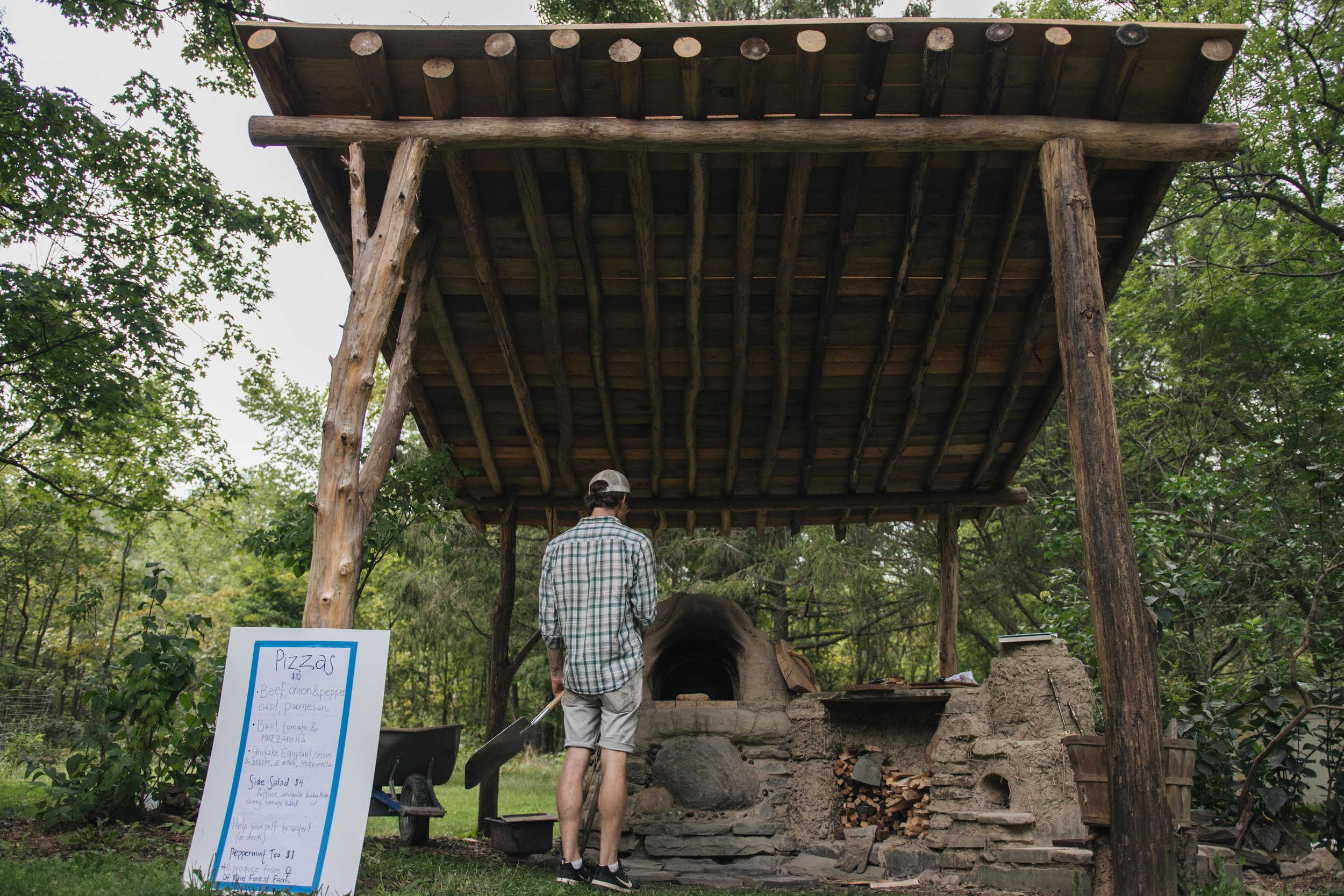 The outdoor kitchen structure protecting our cob pizza oven, built from Black Locust and Elm. Trumansburg 2018