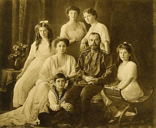 The Romanov royal family. Tsar Nicholas II, autocrat of Russia, his German wife Alexandra, their four daughters, and their son, Tsarevich Alexei.