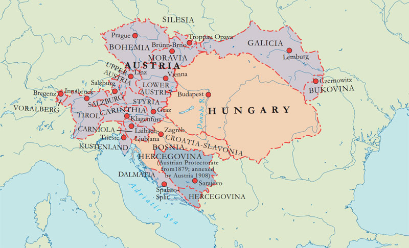 Map of the Austro-Hungarian Empire at the time of the First World War. The area in mauve shows the Austrian part of the empire and the area in buff shows the Hungarian. Both parts were centrally administered from Vienna. Bosnia, which had been part of the Ottoman Empire, was annexed by Austria in 1908. This caused tensions with Serbia and its ally Russia.