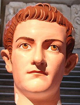 A replica bust of Caligula, with traces of paint from an ancient statue used to recreate the face of the young emperor.