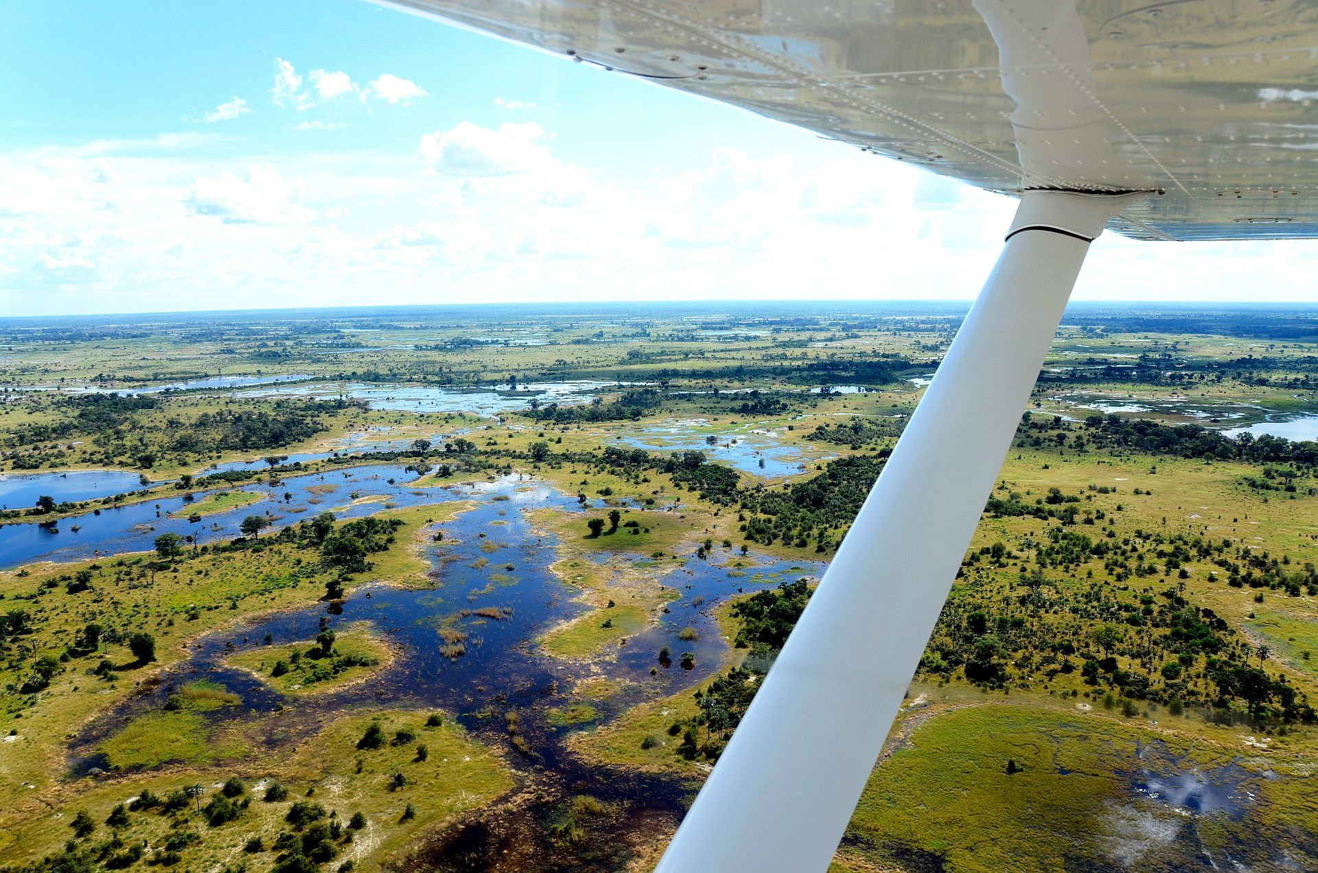 Day: 6 & 7 OKAVANGO DELTA - The Okavango Delta is one of the very few major interior delta systems that do not flow into a sea or ocean, with a wetland system that is almost intact.It lies  in north-west of Botswana, comprising permanent marshlands and seasonally flooded plains.