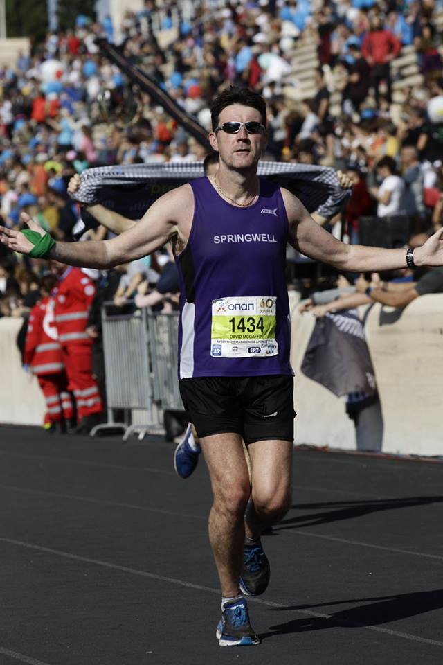 David McGaffin finishing the Athens Marathon