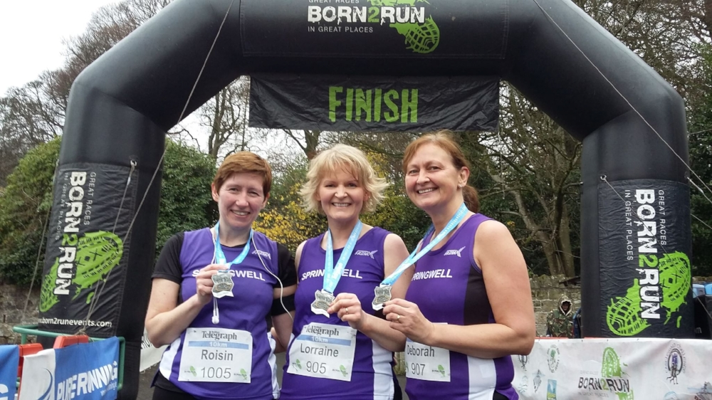 Roisin Walker, Lorraine Abernethy and Deborah Archibald at the Drum Manor 10k