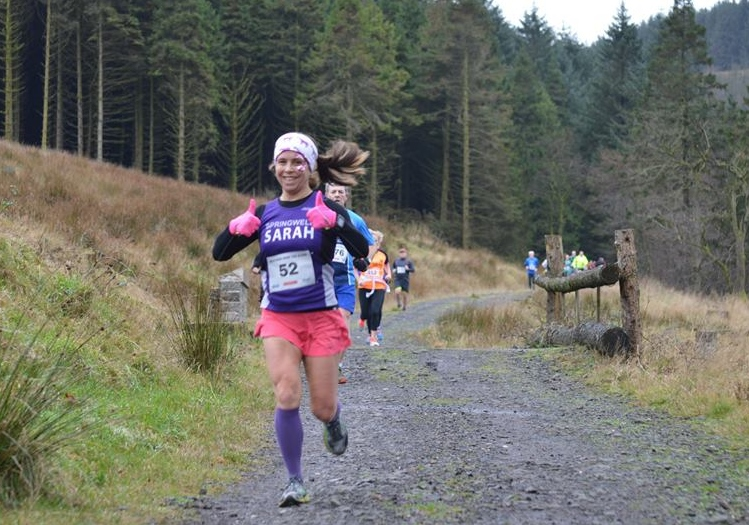 Springwell RC's Sarah Dickinson at the Race Over the Glens (Photo Ballymena Runners)