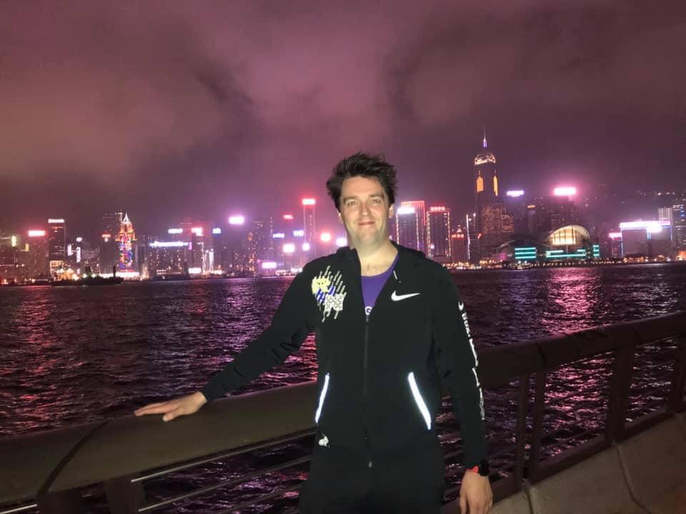 Andrew Kincaid on his way to start the Hong Kong Marathon