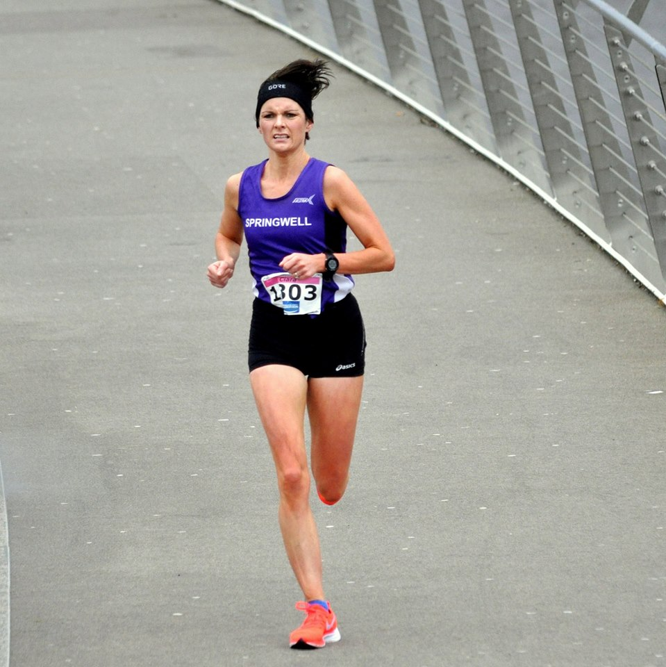 Ciara Toner on her way to winning the WCM 10 Mile Road Race  (photo courtesy of Richard McLaughlin)