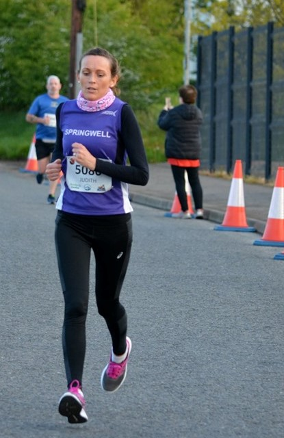Judith Buchanan wins the 5k F40 category in her first race for Springwell RC