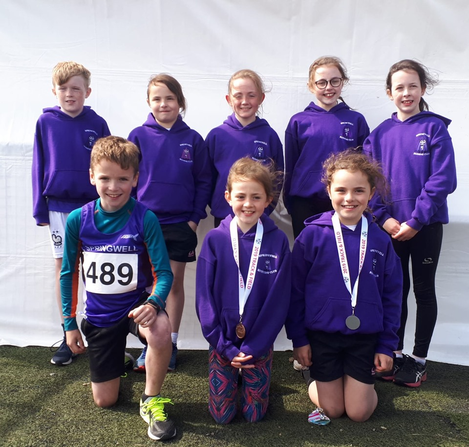 Springwell RC Juniors at the Children's Ulster T & F Championships