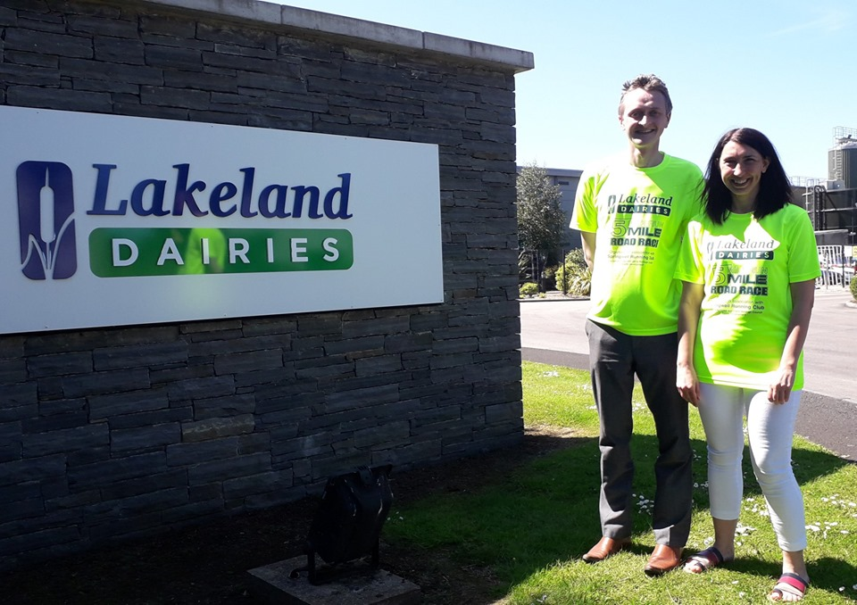 David Hughes and Emma Burrell modelling the Lakeland Dairies Milk Run T-Shirts