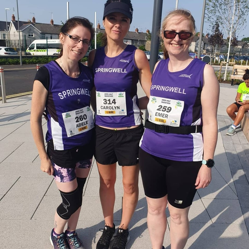 Adele Tomb, Carolyn Crawford and Emer Thompson at the Ards Half Marathon
