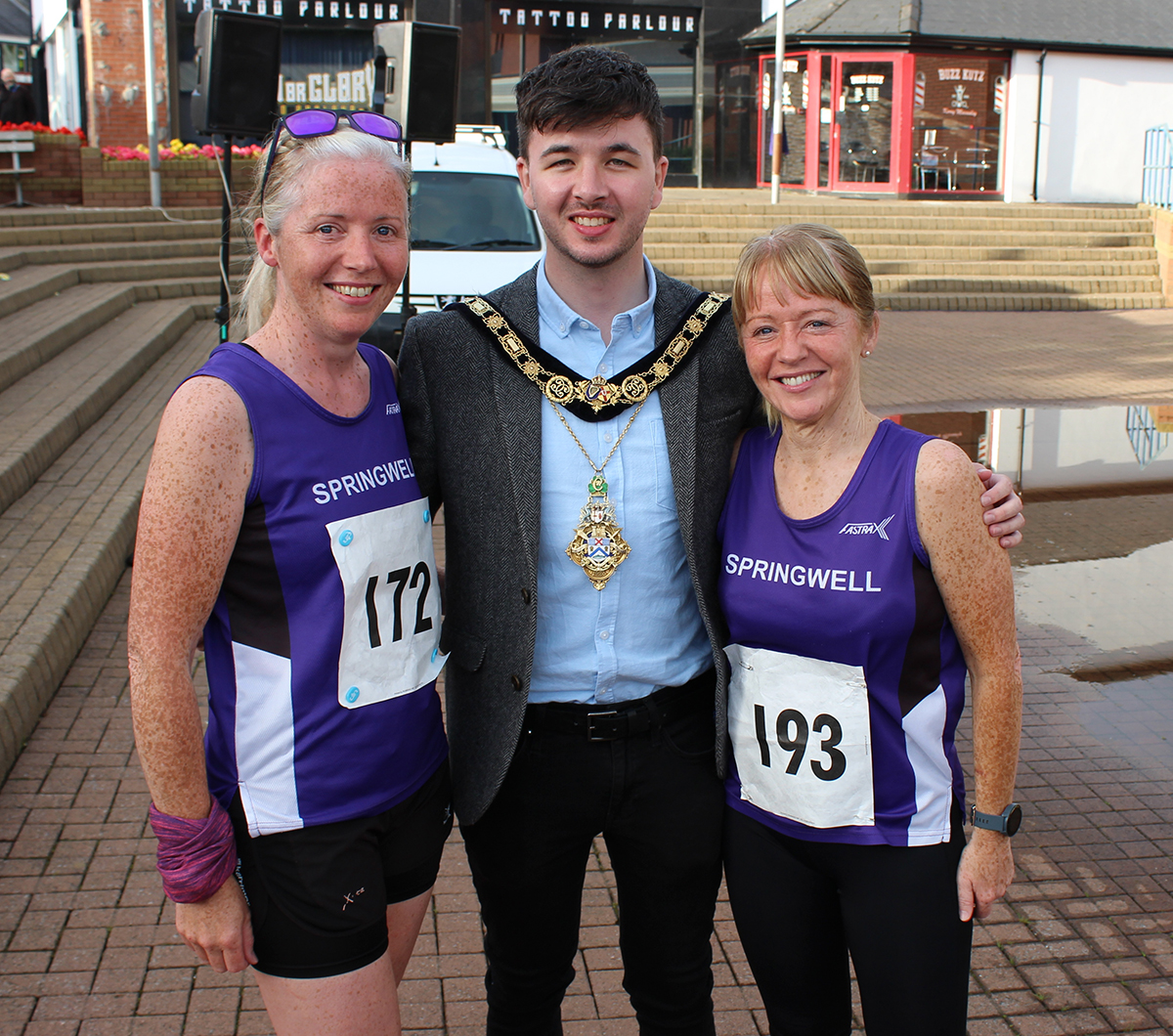 Councilor Sean Bateson, Mayor of CC&G with Mariette Mulvenna and Majella McAteer