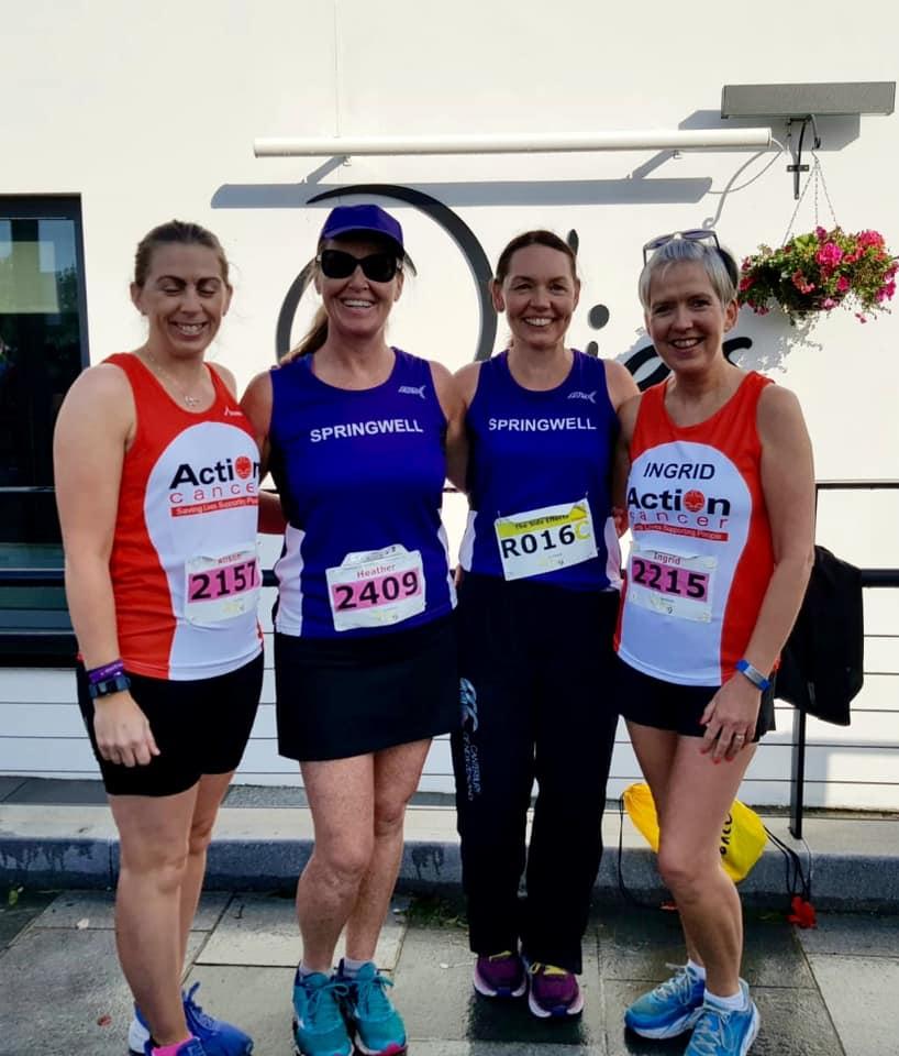 Alison Duncan, Heather McLaughlin, Lorraine Mullan and Ingrid Hamilton at the Waterside Half Marathon