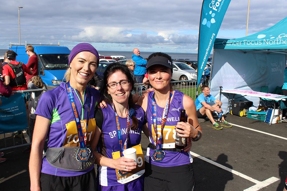 Kerrie McIlmoyle, Adele Tomb and Carolyn Crawford at the Causeway Coast Marathon