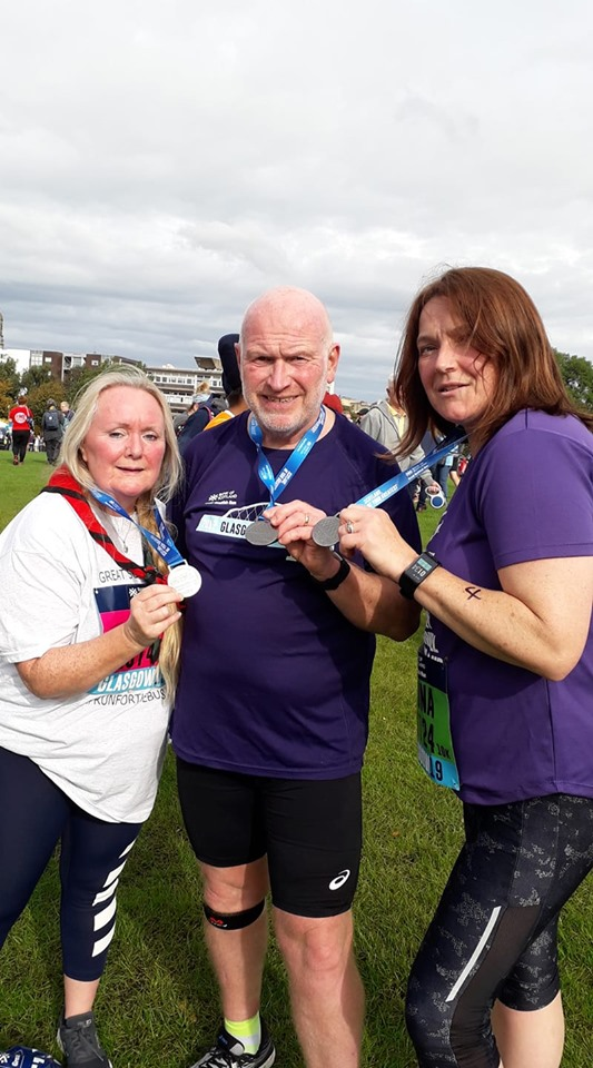 Joan Trengrove, Kenneth Bacon and Rhona Laverty at the Great Scottish Run