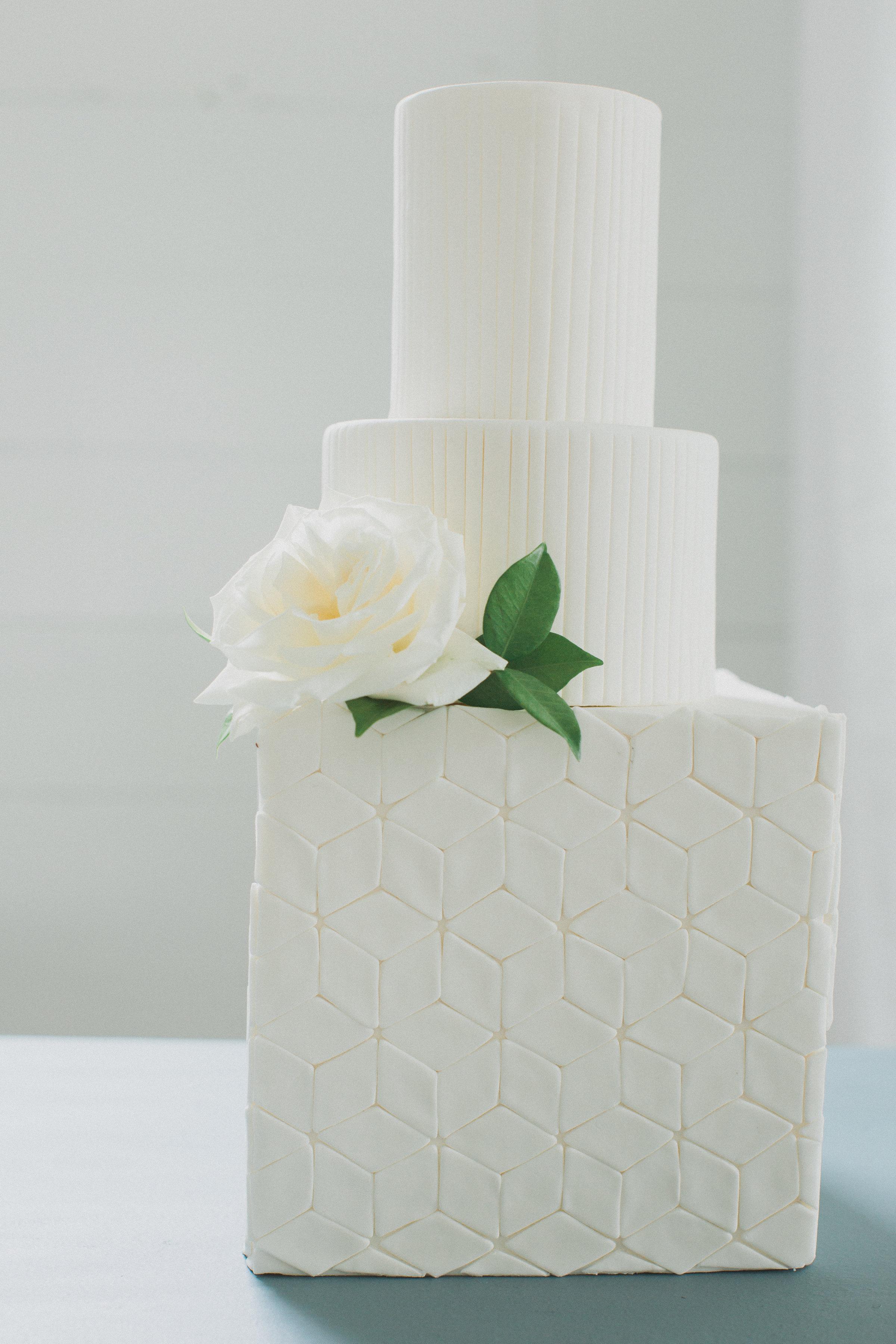Modern Geometric White Wedding Cake | Summer Southern Barn Wedding in Dallas