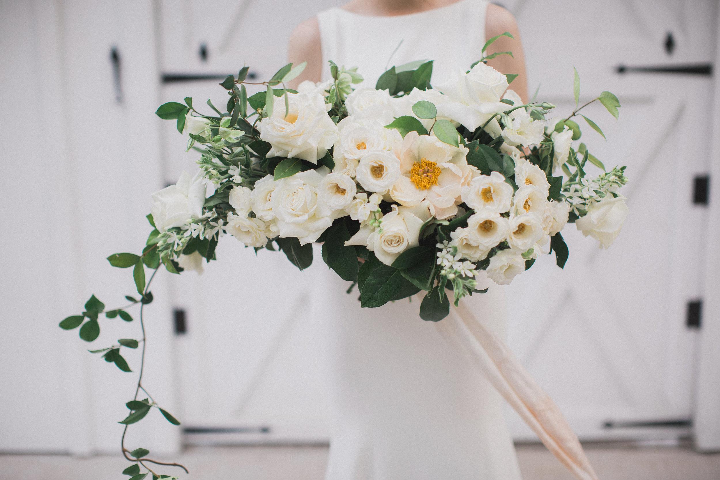 Organic White Bridal Bouquet | Southern Summer White Barn Wedding in Dallas, TX