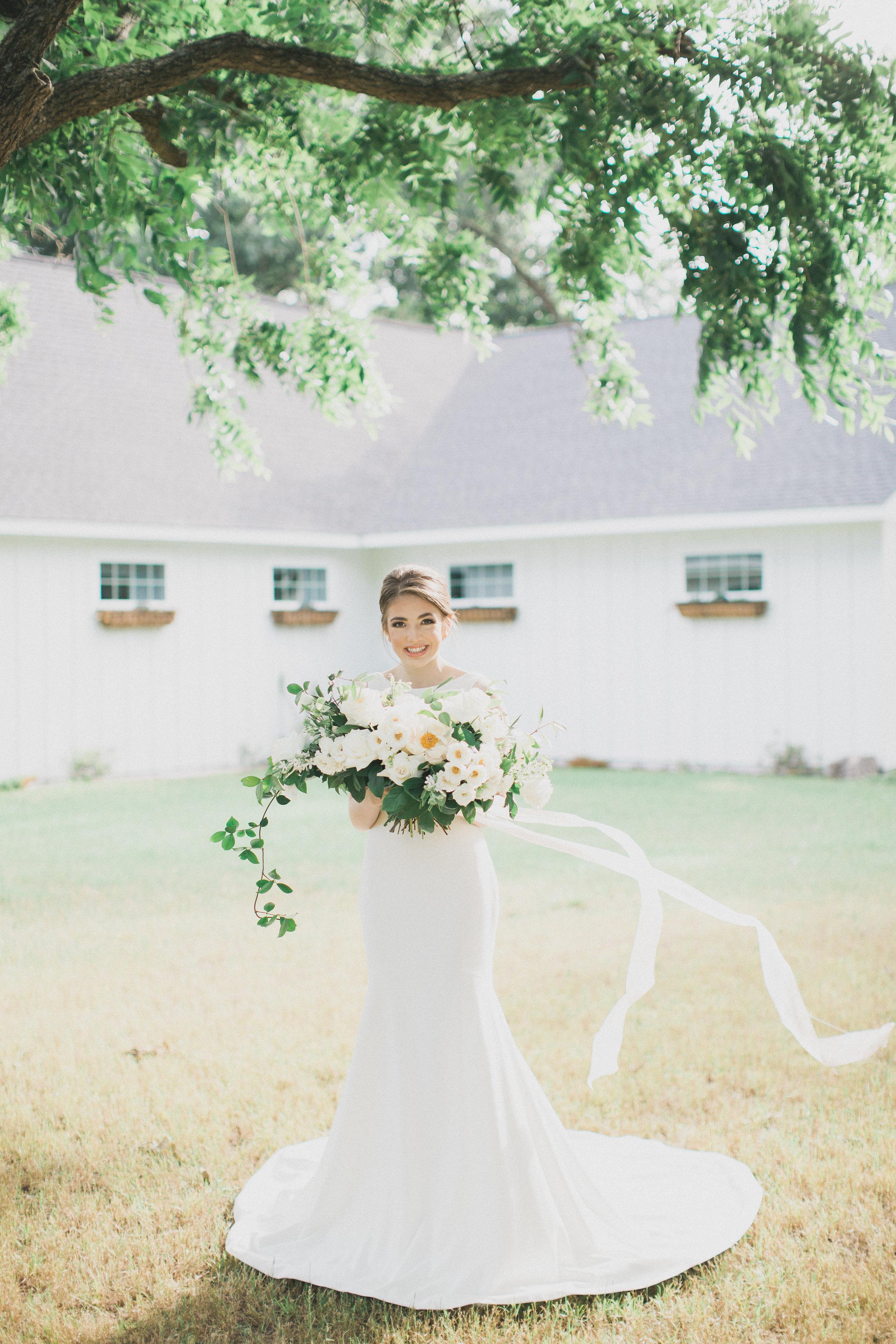 Silk Ribbon Bridal Bouquet | Southern Summer White Barn Wedding in Dallas, TX
