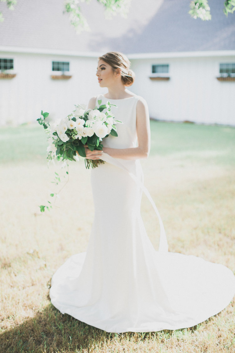 Bridal Portrait Pose Inspiration | Southern Summer White Barn Wedding in Dallas, TX