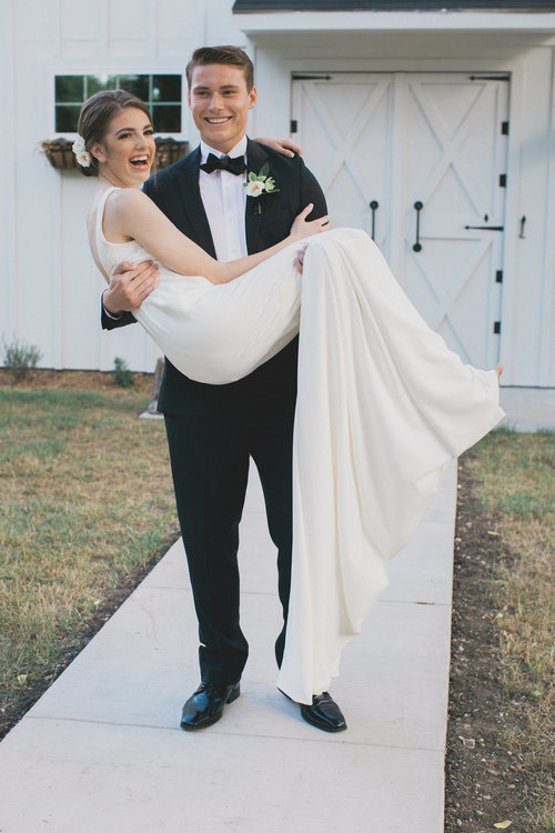 Just Married Post Ceremony Portraits | Southern Summer White Barn Wedding in Dallas, TX